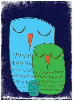 "My owl family illustration: ""We 3 Owls Goodnight"" art print by strawberryluna."