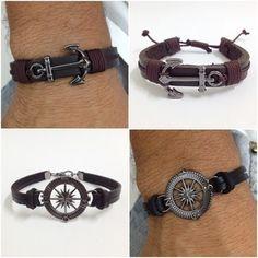 Kit 4 pulseiras masculinas couro âncora rosa dos ventos pedra obsidiana - Cocar Brasil