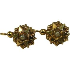 French Antique Victorian Era 18k Yellow Green Gold Pearl Dormeuses Earrings ~ c1890
