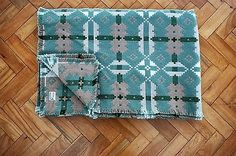 Brynkir Welsh Tapestry Blanket Bedspread in Natural Greens and Tan Fab Condition