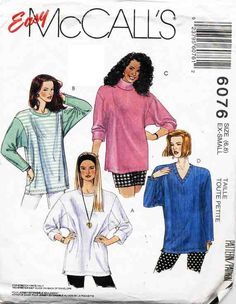 McCall's Sewing Pattern 6076 Misses' Tunic Size: 6-8  Used
