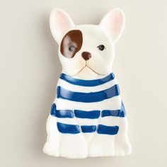 """Featuring a spotted eye and Breton stripes, our exclusive French bulldog spoon rest is a great """"watchdog"""" to keep on the lookout for messy utensils and makes an adorable gift for dog lovers and Francophiles. www.worldmarket #WorldMarket Home Decor"""