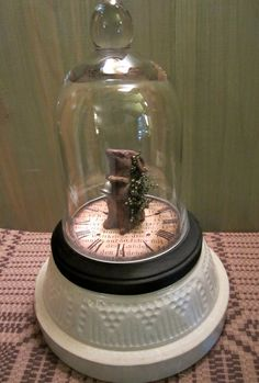 Primitive Beeswax Mouse in Glass Cloche