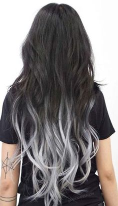 20 Hot Color Hair Trends - Latest Hair Color Ideas 2019 Ombre Hair black to silver ombre hair Grey Balayage, Balayage Straight, Balayage Hair, Silver Ombre Hair, Ombre Hair Color, Blue Hair, Hair Colour, Pastel Ombre Hair, Black To Grey Ombre Hair