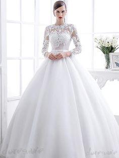 Doresuwe.com SUPPLIES 2016新作レース丸ネックのAライン上品綺麗目ウェディングドレス 花嫁ドレス 2016 ウェディングドレス