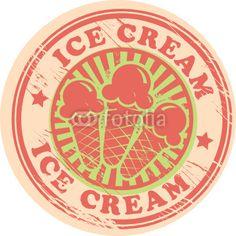 Vintage retro ice cream label