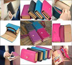 Handy-Women-PU-Leather-Clutch-Purse-Button-Long-Handbag-Wallet-Phone-Case-Holder