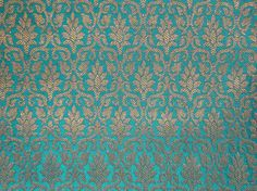Fat quarter peacock blue and gold  Indian silk brocade fabric