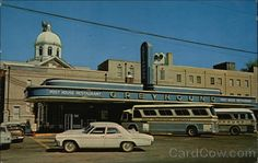 Chrome Postcard Greyhound Bus Station and Post House Restaurant Jackson, TN Cleveland Tennessee, Bus Travel, Time Travel, Old Garage, Vintage Neon Signs, Bus Terminal, Bus Tickets, House Restaurant