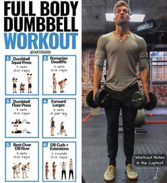Gain Muscle Mass Using Only Dumbbells With 10 Demonstrated Exercises – Dumbbell … Muskelmasse gewinnen mit nur Hanteln mit Full Body Dumbbell Workout, Full Body Weight Workout, Weight Training Workouts, Dumbbell Exercises, Weight Exercises, Lifting Weights Workout, At Home Dumbell Workout, Mens Full Body Workout, Strength Training Without Weights
