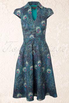 Fever - 60s Arlington Peacock Shirt Dress