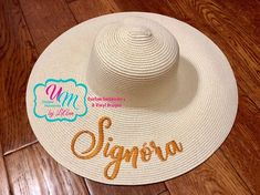 Signora Embroidered floppy Beach Hat, Personalized #accessories #hat @EtsyMktgTool #hatsandcaps #sunhat #beachhat #strawbeachhat Floppy Sun Hats, Embroidery Shop, Wedding Hats, Personalized Products, Pick One, Bride Gifts, Design Your Own, Bridesmaid Gifts, All The Colors