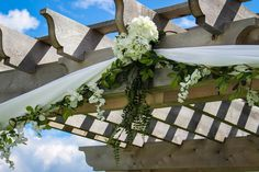 #outdoorceremony #nature #wedding #woodenarchway #greenery #white #hydrangeas www.clevents.ca