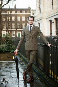 DB suit and Grenson boots #mensfashion #sartorial #tie #colour #menswear #smart #gentleman #elegant #dapper #tweed #country