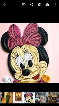 quilling Minnie egér képkereten / quilled Minnie mouse on photo frame Quilling Dolls, Paper Quilling Flowers, Quilling Work, Paper Quilling Patterns, Quilled Paper Art, Quilling Paper Craft, Easy Paper Crafts, Mouse Crafts, Quilled Creations