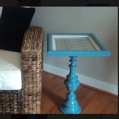 DIY end table made from old lamp base and picture frame via richmondthrifter.blogspot.com for $5.50