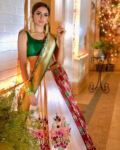 Sensational Lehenga Style Saree Designs For Brides To Flaunt At Their Nuptials! Indian Bridal Lehenga, Indian Bridal Wear, Indian Gowns, Indian Attire, Pakistani Dresses, Indian Wedding Fashion, Indian Wedding Outfits, Indian Outfits, Indian Fashion