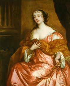 The Royal Collection: Elizabeth Hamilton, Countess of Gramont (1641-1708), by Sir Peter Lely, c. 1663. Clothing is not proper dress. It was important to show your linen was clean - a sign of status - we can see she is not proper. Loose dress, not wearing a corset. Broken wheel in background symbolizes she is a Catholic.