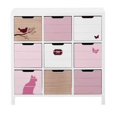 Child's white and pink wooden cabinet L 78 cm