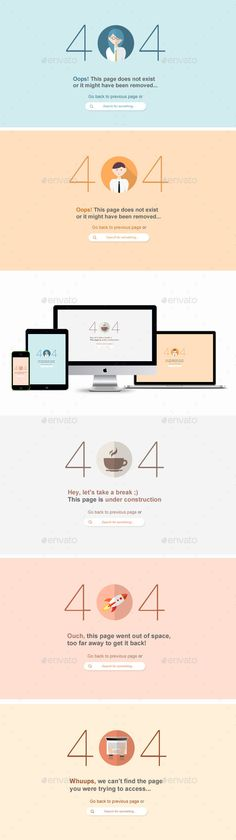 Flat 404 Error Web Pages - 5 Items - PSD
