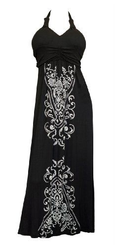 Available in Junior plus size 1XL, 2XL, 3XL. Plus size maxi dress features halter neck design. Delicate embroidery print adorns this breezy plus  ...