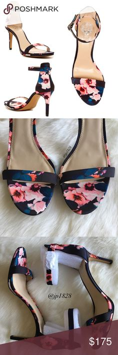 NIB Vince Camuto Floral Sandals How cute are these sandals?! I'm obsessed!💘They would make a fab addition to your spring/summer wardrobe & transition perfectly from a day at the office to a night on the town! Pair with a LBD or skinny jeans. These are black & have all over print. I 💖 the beautiful floral pattern! 🌸 So unique! They even feature memory foam padded insoles for added comfort! No trades. Price firm.  - True to size - Open toe - Ankle buckle strap closure - Memory foam insole…