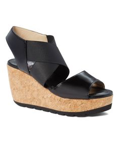 Black Cross-Strap Amanda Wedge Sandal