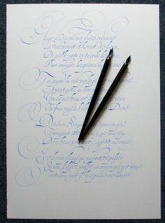 Laurent Rebena calligraphie sonnet Ronsard gouache plume papier cadeau