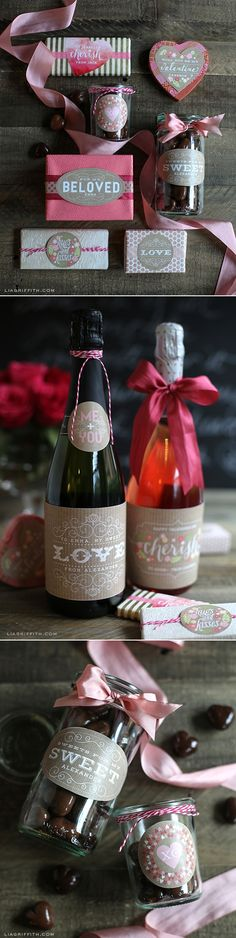 Printable Valentine's Day Labels at www.liagriffith.com #tags #printable #Valentines