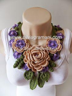 Silvia Gramani Crochê: Colar Afrodite - Colar de Crochê com Flores