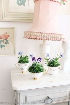 The Villa on Mount Pleasant: Violas In Vintage Teacups