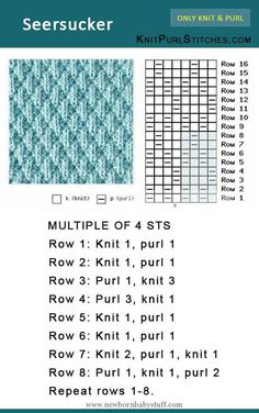 How to knit the Seersucker stitch. Pattern includes written instructions and chart How to knit the Seersucker stitch. Pattern includes written instructions and chart Seersucker stitch is easy, jus Child Knitting Patterns The right way to knit the Seersuck Knitting Stiches, Knitting Charts, Baby Knitting Patterns, Knitting Designs, Knitting Needles, Free Knitting, Knitting Projects, Loom Knitting Stitches, Afghan Patterns