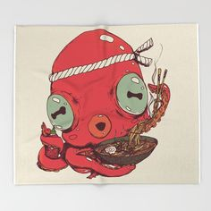 Spicy Ramen by Ben Geiger - Throw Blanket #Chop-sticks #Asian #Japanese #Soup #Cute #Chef #Graphic #Tentacle #Japan #Kawaii (affiliate)