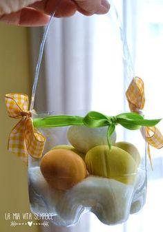 Cestino di Pasqua da bottiglie di plastica  Easter basket