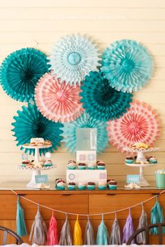 Marine Life Baby Shower - such a sweet and colorful dessert table!