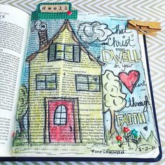 """Decided to journal my #olw for 2016 in my journaling bible.  DWELL:  1. to remain for a time 2 a: to live as a resident  b :  exist lie 3 a :  to keep the attention directed Found several bible verses that directed me to my word for the year. This one is in Ephesians 3:16-19 """"that according to the riches of his glory he may grant you to be strengthened with power through his Spirit in your inner being 17 so that Christ may dwell in your hearts through faiththat you being rooted and grounded…"""