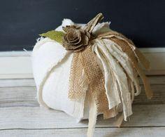 White Burlap Fabric Pumpkin Shabby Cottage Chic Centerpiece Elegant Rustic Fall Decor Neutral