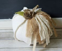 White Burlap Fabric Pumpkin Shabby Cottage Chic Centerpiece Elegant Rustic Fall Decor Neutral