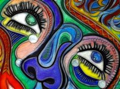 Love the eyes and the nose ain't so shabby either!  Great use of color! (psychadelic)