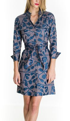 Blue & Taupe Kaley Botones Wrap Dress
