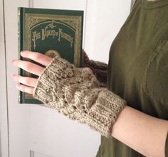 Khaki Fingerless Gloves Organic Cotton