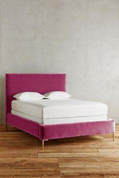 pink velvet bed