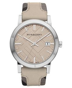 Burberry Watch, Women's Swiss Smoked Fabric and Smooth Trench Leather Strap 38mm BU9021