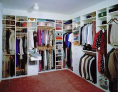 Article on downsizing...traditional closet Modern Closet...notice the ironing board