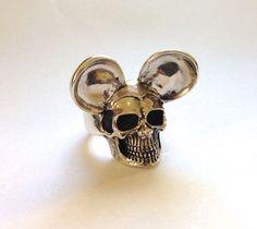 Mickey Mouse Skull - Sterling Silver 925 - Massive Ring - Handmade - custom #Handmade #mickeyskull