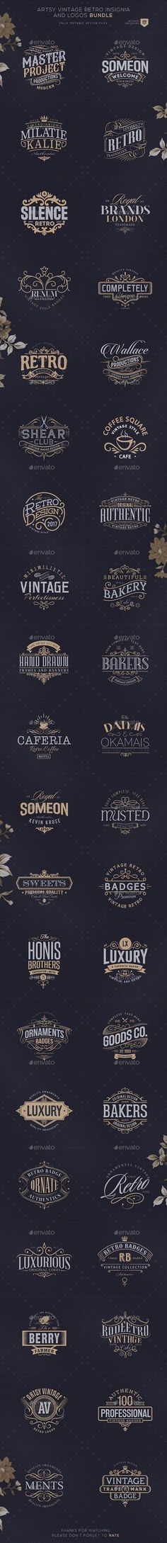 Buy Artsy Vintage Retro Insignia and Logos Bundle by designhatti on GraphicRiver. Artsy Vintage Retro Insignia and Logos BundleA Bundle of 40 Artsy Badges and logos which can be used as your logos, l. Vintage Labels, Retro Vintage, Logo Vintage, Vintage Shoes Men, Vintage Makeup Vanities, Typography Design, Logo Design, Vintage Wedding Colors, Vintage Travel Themes