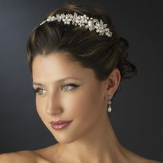 Ivory Pearl and Rhinestone Floral Side Accent Wedding Headband