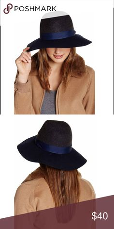 """Phenix Panama Two-Tone Wool Hat Panama hat is two-tone design char-navy color. Inverted crown. Wool felt construction. Wide brim with band. Approx 4"""" brim, 23.5"""" inner circumference. 100% wool. Dry clean only. Phenix Accessories Hats"""