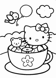 Hello Kitty Coloring Pages | Hello Kitty and teddy bear in tea cup coloring page