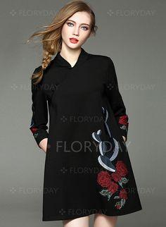 Vestidos - $82.17 - Mezclas de algodón Floral Manga de 3/4 Sobre las rodillas De época Vestidos (1955093982)
